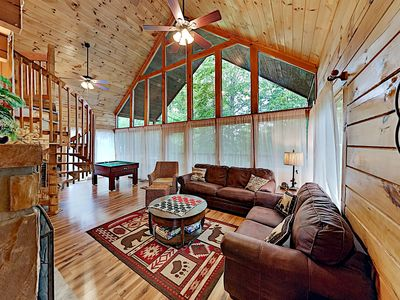 """Photo for """"A Birds Song"""" Cabin Delight w/ Gas Fireplace & Mountain-View Hot Tub"""