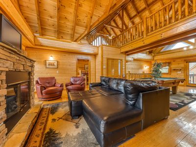 Photo for Luxury and sleek log cabin w/private hot tub, theater, and awesome views!