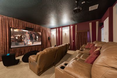 """Professional Home Theater with 110"""" Screen, Projector, PS3 and game chairs!"""