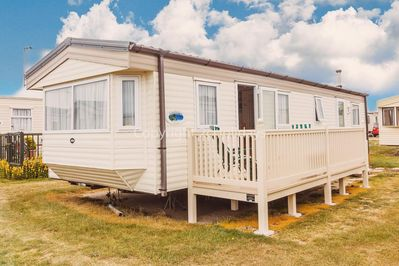 Private hire caravan with decking