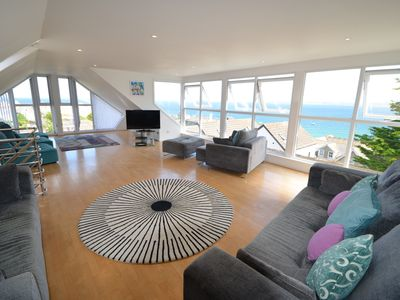 Photo for Stunning sea views, close to the centre of St Ives & car parking for upto 3 cars