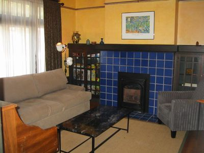 Den with sleeper sofa and gas fireplace