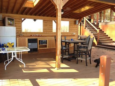 Tiki Bar with Refrigerator, TV,  Stereo, Gas Grill and Sky Lights