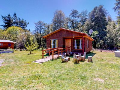 Photo for Secluded & accessible dog-friendly cabin w/shared outdoor hot tub & pool!