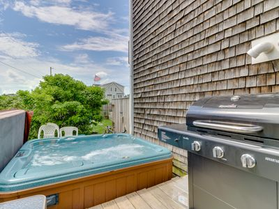 Photo for NEW LISTING! Oceanview duplex w/private hot tub, 2 decks & yard-steps to beach