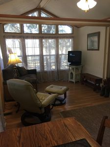 Couch and recliner for comfort. TV with Direct, Internet.