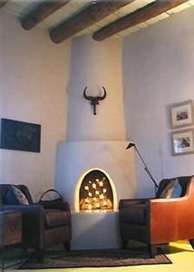 Romantic kiva fireplace with candles only!