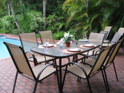 Poolside dining  in private tropical surroundings