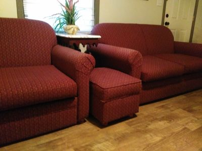 Dual sofas with twin size memory foam pull out mattresses