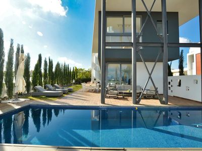 Photo for Villa Limni Dyo - Luxurious Contemporary 3 Bedroom Villa with Sea Views and Hot Tub