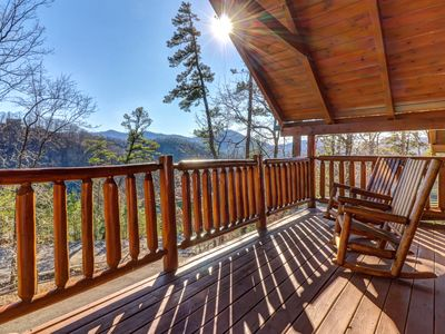 Photo for NEW LISTING! Comfortable cabin w/ private hot tub, pool table, & mountain views