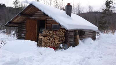 Cabin with new load of ash wood to keep it cozy and warm