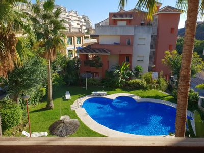 Photo for Apartment with terrace and pool next to the beach and supermarket