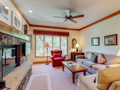 Photo for 2nd-floor escape w/wood-burning fireplace/shared pool & hot tub - close to lifts