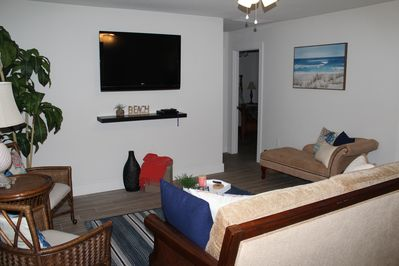 Living room with large screen TV and DVD player