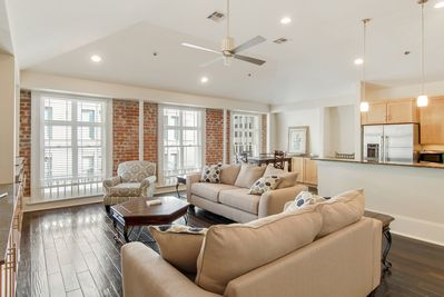 Exposed Brick, Cathedral Ceilings, Windows overlooking St.Charles Street Car