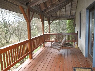Front porch swing-perfect for bird watching!