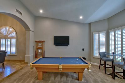 Pool Table, Cocktail Table + Flat Screen TV