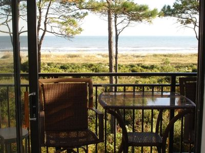 Photo for Beach & Restaurant open!Direct Oceanfront view,Private Balcony,Miles bike trails