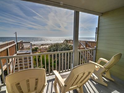 Photo for Oceanfront 3 bedroom 3 bath townhouse style condo with private beach access and a covered dune front deck with spectacular views!