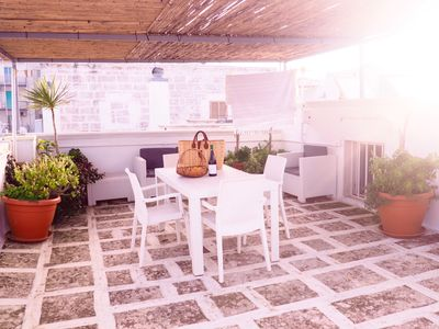 Photo for Rooftop terrace, near main piazza, panoramic views of the sea