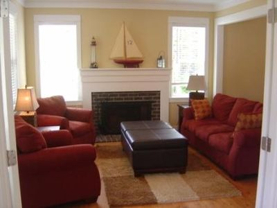 Family room with french doors, large open room to dinning area