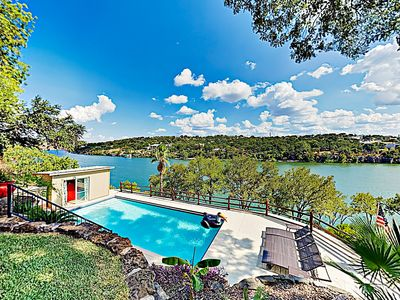 Photo for New Listing! Mid-Century Modern Lake House w/ Private Pool & Boat Dock