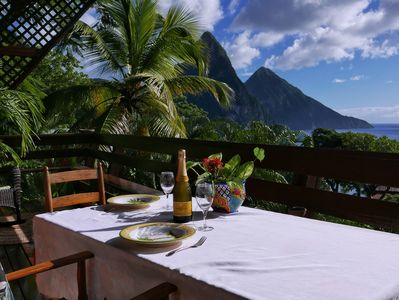 Dinning on the Treehouse II deck overlooking the Pitons and ocean is heavenly!