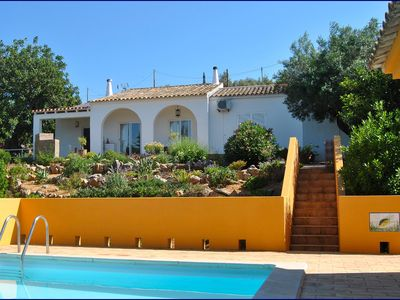 Photo for Cosy villa with salt water pool, extensive grounds and sea views.