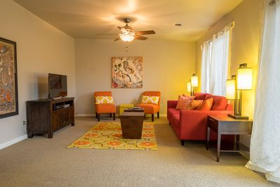 A roomy living room to relax when you're not out and about in Nashville.