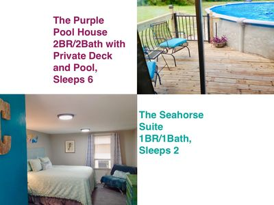 Photo for Purple Pool House,2/2 & Seahorse Suite,1/1 w/ private deck, close to beaches!