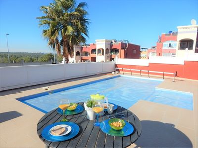 Photo for Private Pool,  close to bars, restaurants, shops, free wi-fi, English TV