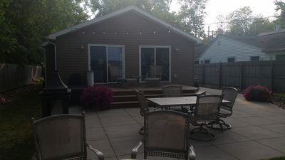 Large deck & patio. String lights extend the evening while you sit at the fire.