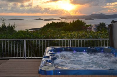 Panoramic island & sunset views from the comfort of your spa!