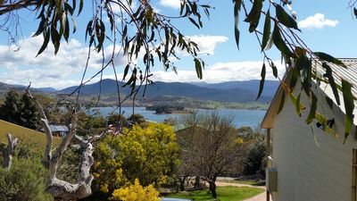Cottage & Lake with Snow Gums