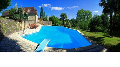 extra large pool, 20x45 ft, and up to 12ft deep