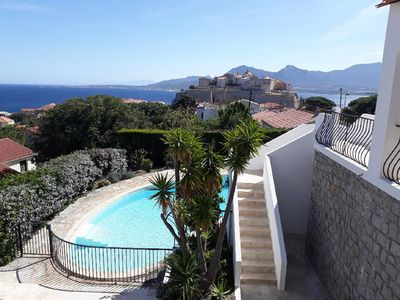 Photo for Large Villa with Pool in the center of Calvi, Stunning View