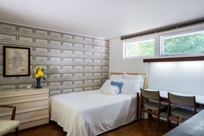 Private, shaded bedroom w/ queen-sized bed, lots of closet-space, desk, dressers