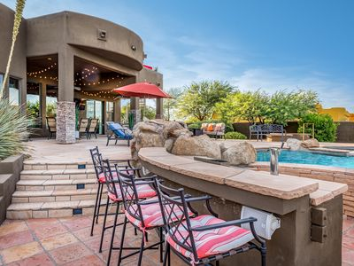 Photo for NEW LISTING! Secluded oasis w/pool, hot tub, roof deck, outdoor kitchen & views