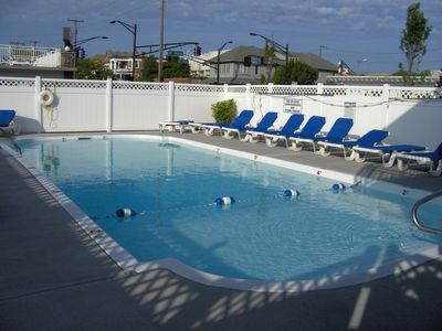 "Refreshing on-site heated pool at ""The Sun Beach Condo"""