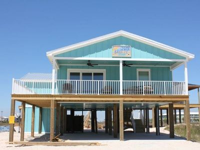 Photo for Totally renovated, breathtaking 4 bedroom, 2 bath beach home with unobstructed gulf and bay views plus super easy beach access. Amazing covered and open decks perfect for taking in the salt air and hearing the waves! June Breeze offered by Reed Real Estate.