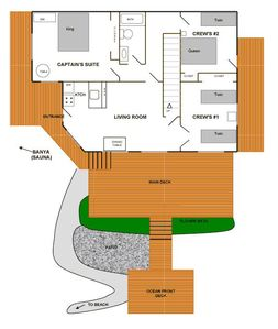 A Captains Quarters Floor Plan. 1600 SF living space w/ all private ammenities