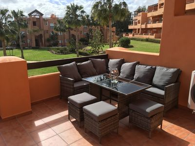 Photo for Casares Del Sol 2 Bedroom 2 Bathroom Pool Facing Apartment with Large Terrace