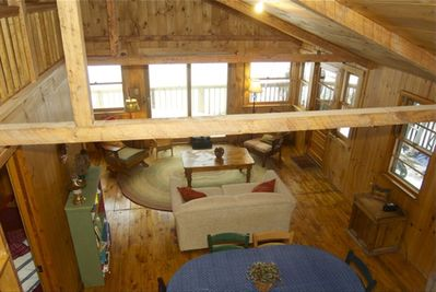 Newly renovated great room overlooks the lake.