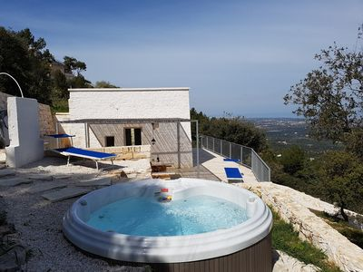 Photo for LUXURIOUS APULIAN LAMIA WITH PANORAMIC SEA VIEW AND HEATED SPA BATH