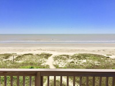 View from the deck of this BEACHFRONT home just steps to the vehicle-free beach