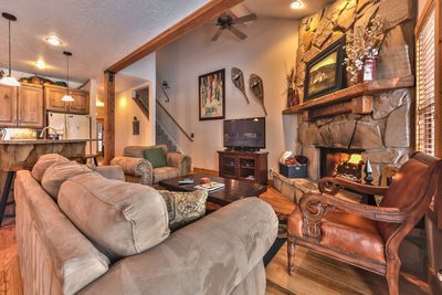 """Entrance into Great Room - Living Room with 50"""" Smart TV and Xfinity Cable, and Warm Gas Fireplace"""