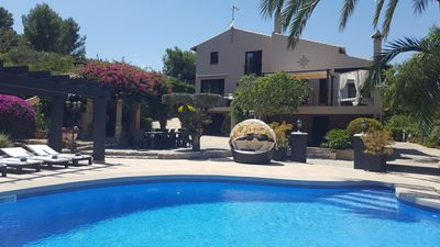 Photo for 6 bedroom country villa with large private gardens and pool. Aircon, WIFI