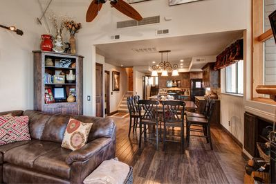 Open-Concept - An open layout leads from kitchen, to dining, to comfy living area
