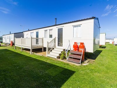 Photo for 8 berth caravan for hire with decking, Heacham holiday park, Norfolk ref 21036H